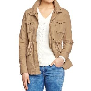 Khaki Utility Field Jacket With Drawstring Waist